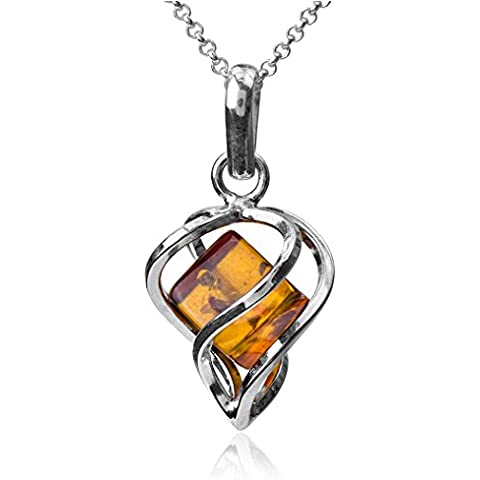 Noda Ambar Plata Esterlina Millennium Collection Corazon Novio Contemporaneo Colgante Collares Cadena 46 cm