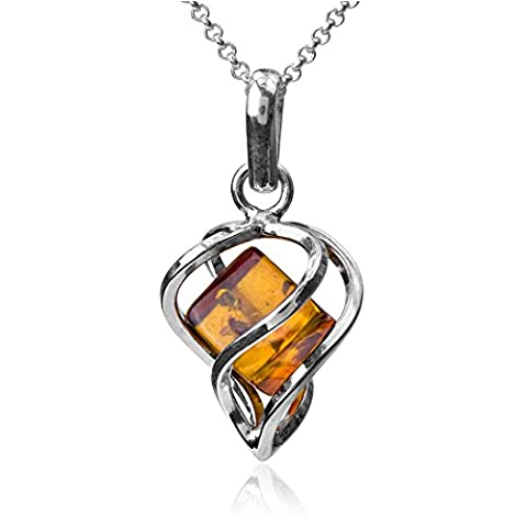 Amber Sterling Silver Millennium Collection ?ontemporary Heart Pendant Chain Rolo 46cm