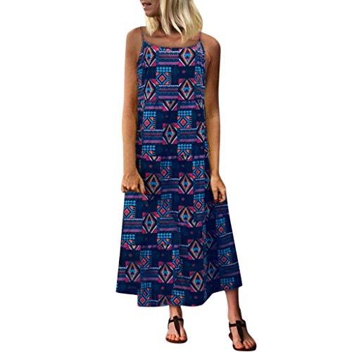 AMUSTER Damen Vintage Leinen Kleid Sommer Floral Baumwolle Sexy Maxi Kleid Strappy Print Retro Lange Maxi Partykleider Floral Strappy Kleid