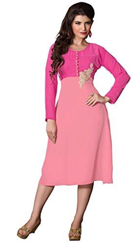 Khushali Presents Georgette Stylish Kurti(Pink)