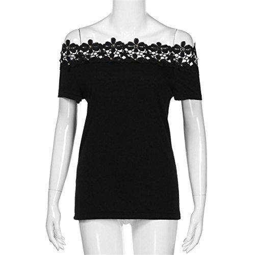 Moonuy Kurzarm-T-Shirt der Frauen 2018 Art- und Weisespitze weg von der Schulter-Spitze aushöhlen tägliches beiläufiges Hemd O-Ansatz dünne Spitzenbluse in der Förderung (EU 36/Asien M, Schwarz) - 4