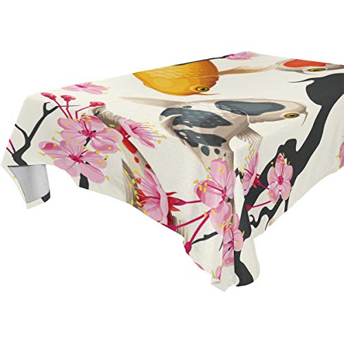 NaiiaN Tischdecke Liebe für Parteien Hochzeiten Küche Tischdecke Esszimmer 54x54 Zoll Kirsche Blume Koi Fisch Rechteckige Tischdecke -