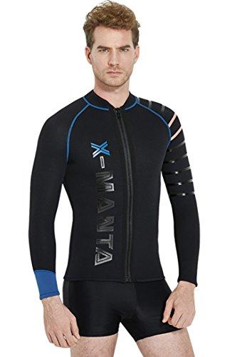 Micosuza Neopren Jacke Herren Wassersport 3MM Warm Neoprenanzug Top mit Reißverschluss Langen Ärmeln UV Sonnenschutz Tauchanzug