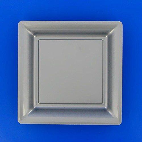 Ma Vaisselle Jetable - Assiette Carree Couleur Gris Argent Diametre 180
