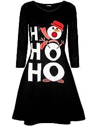 363334192c73 Fashion Star Women Christmas Ho Ho Ho Snowman Xmas Long Sleeve Flared Swing Mini  Dress