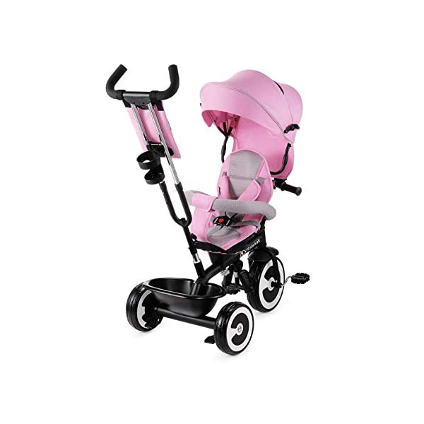 Kinderkraft Aveo KKRASTOPNK0000 Tricycle with Accessories in 3 Colours Pink kk KinderKraft Five point safety straps for the shoulders and an additional strap between the legs to protect the child from falling out A mechanism that connects the parent handlebar with the child's handlebar so that parents can have full control over the bike guidance when required. Free-wheel that causes the child to rmble freely regardless of the person who leads the bike 3