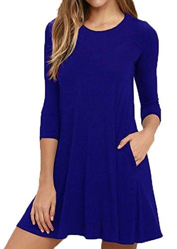 VIISHOW Damen 3/4 Ärmel beiläufige Rundhals Stretch Basic Kleider (Königsblau XL)