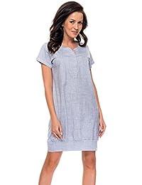 dn-nightwear Damen Umstandsnachthemd / Stillnachthemd TM.8061 aus 100% Baumwolle