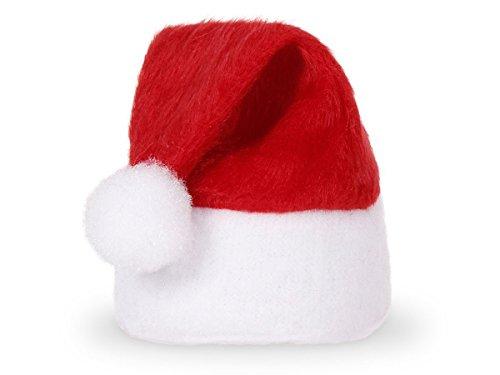 Alsino Set di 48 Cappelli Sacaldauova | Babbo Natale (wm-133) | Mini Cappellino | 10 x 5 cm | Feltro | Rosso | PON PON e Bordo Bianco | DIY | Fai da Te | Natalzio | Decorazione