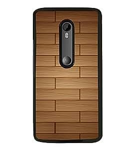 PrintVisa Square Wooden Pattern High Glossy Designer Back Case Cover for Moto G Turbo Edition