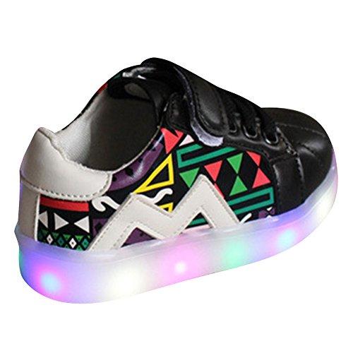 Highdas Baby Jungen Mädchen LED Schuhe erster Weg beleuchten Turnschuhe Black EU 23