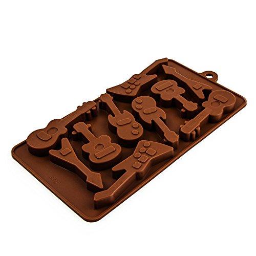 Molde de silicona con diseño de guitarra para chocolate, cubitos de hielo, minimagdalenas, bombones, para cumpleaños de niños, fiestas, cócteles y Rock 'n' Roll. Color: marrón