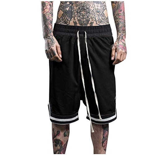 Xmiral Shorts Herren Reißverschluss Taschen Kordelzug Streifen Sports Kurze Hose Training Shorts Fitness Beachshorts Mode Shorts(Schwarz,L) Classic Satin Shorts