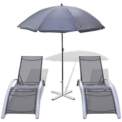 Festnight lettino prendisole/sedia a sdraio set 3 pz con ombrellone in alluminio