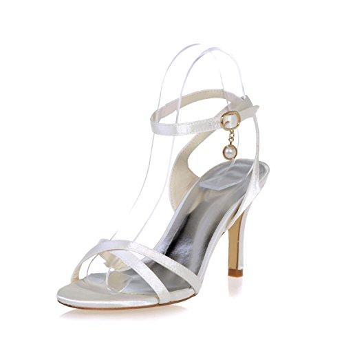 Chalmart Sandales à Haut Talon Soirée Escarpins à bride élégant Chaussures Mariage Mode Ivoire