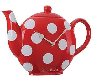 Red Spotty Teapot Kitchen Wall Clock 24201