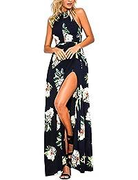 carinacoco Mujer Vestido Fiesta Largo Sin Mangas de Escotado por Detrás Maxi Vestidos Boho Chic de