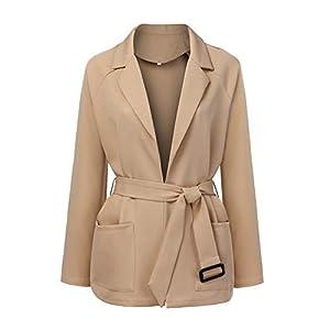 Amphia – Damen Taille mit einfarbiger Spitzenjacke,Frauen-Lange Hülsenmode-Taillen-Übergrößen-Jacke Windjacke-Mantel-Mantel