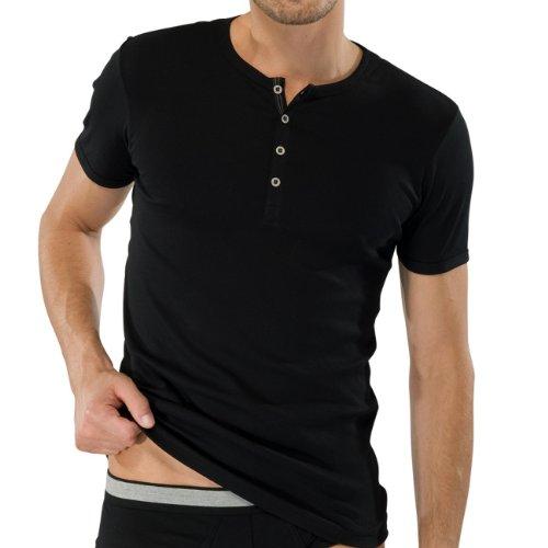 SCHIESSER Herren T-Shirt mit Knopfleiste Naturbursche 2er Pack, Farbe:Schwarz (000);Größe:6/L