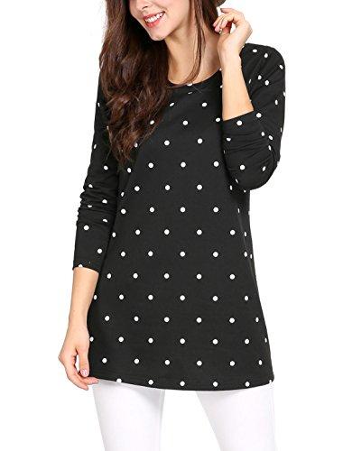 Allegra K Ladies' Long Sleeve Polka Dot Tunic Tops Blouse