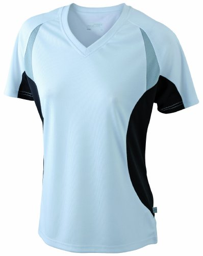 James & Nicholson Ladies' Running T - Camiseta transpirable de running para mujer, color blanco / negro, talla M