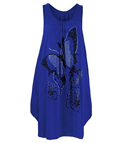 Damen lang Glitzernder Schmetterling TOP DAMEN S Jersey Tunika Übergröße Blau