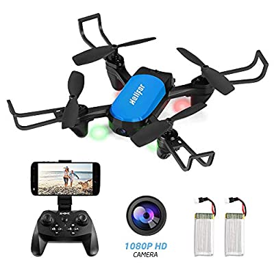 HELIFAR Z45 FPV WIFI Drone with Camera 1080P HD, Real-time Video Feed, 2.4GHz 6-Axis Gyro Remote Control Drone for Beginners, Headless Mode/360 Degree Flip/One Key Return/Altitude Hold, Two Batteries