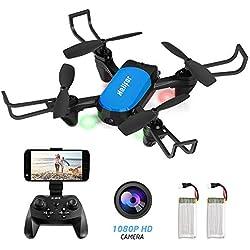 HELIFAR Drone avec Caméra HD 1080P Z45 Mini Drone Télécommandé Radiocommandés Quadricoptère WiFi FPV Une clé Retour/Mode sans Tête/Maintien Altitude, pour Les Débutants et Les Adulte (2 Batteries)