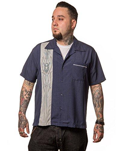 Steady Clothing Herren Vintage Bowling Hemd - V8 Pinstripe Panel Retro Bowling Shirt Dunkelblau XL - Xl Retro Bowling Shirt