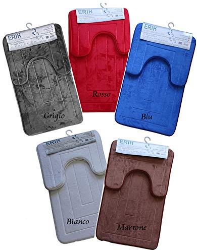 Spaziotessile tappeto bagno set 3 pezzi bagno memory antiscivolo 5 colori 2 misure (blu, set 3 pezzi)