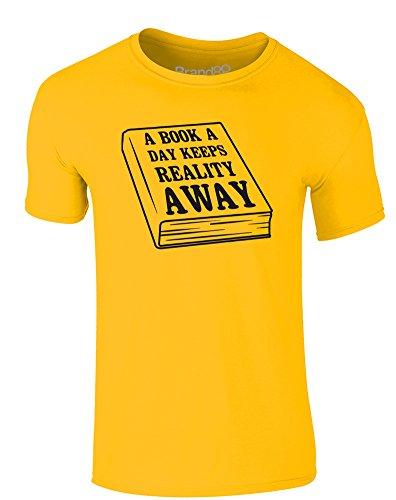 Brand88 - A Book A Day Keeps Reality Away, Erwachsene Gedrucktes T-Shirt Gänseblümchen-Gelb/Schwarz