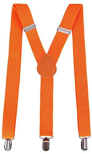 Outletissimo® bretelle arancio arancione uomo donna unisex elastiche regolabili 3 clip 2,5cm nuovo