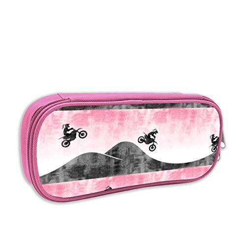 harry wang Federmäppchen für Kinder mädchen,(Kleinmaßstab) Motocross Dirt Bike Pink mit Pferdeschwanz C18BS_3069 - littlearrowdesign, pingk