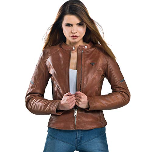 Shima MONACO Jacket, Damen Leder Motorradjacken Rückenprotektor vintage Retro Sommer mit Protektoren (XS-L), Braun, Brown, Größe L