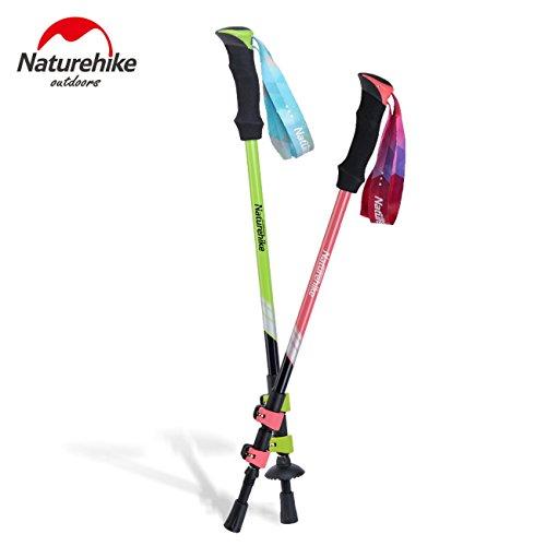 NatureHike 1 pièces ultra-léger externe de verrouillage EVA Poignée 3 Section réglable Canes bâtons de marche Trekking Alpenstock pour l'extérieur