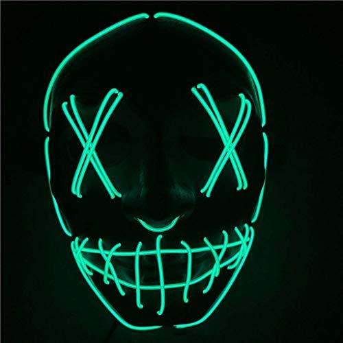 Me Furchterregende LED-Halloween-Maske, Leuchtmaske Cosplay, LED-Rave-Gesichtsmaske Kostüm 3 Beleuchtungsmodi, Halloween-Gesichtsmasken Für Männer, Frauen Und Kinder,D (Rave Kostüm Für Paare)