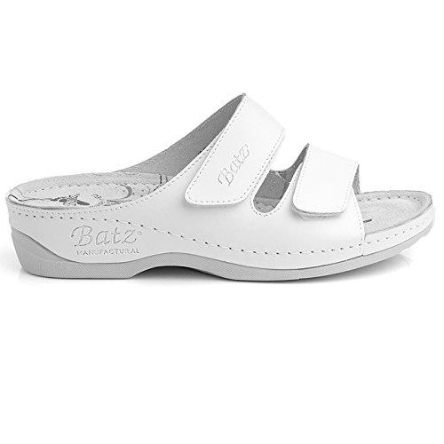 Batz FC03 Hochwertigem Komfortschuhe, Lederschuhe, Pantolette, Sandalette, Damen Weiß