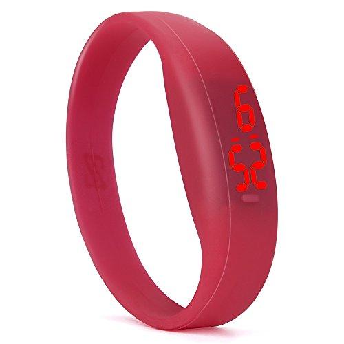 Muamaly LED Sportuhr Digitale Armbanduhr Unisex Silikagel Wecker Männer Frauen Armbanduhren Für Outdoor Laufen (Rot)