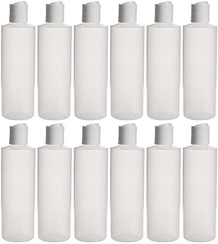 Earth's Essentials Twelve Pack Of Refillable 8 Oz. Squeeze Bottles With One Hand Press Cap Dispenser Tops. Great for Dispensing Lotions, Shampoos and Massage Oils.