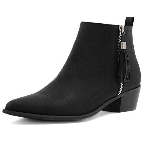 Allegra K Damen Spitzkopf Quaste Reißverschluss gestapelte Hacke Knöchel Stiefeletten, Schwarz, EU 41 (Stiefel Heel Stacked)
