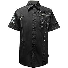 Dead Threads ojales correa Calavera Patch Gótico camiseta de manga corta para hombre negro