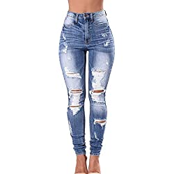 juqilu New Ladies Skinny Jeans De Cintura Alta Jeggings Stretch Denim Ripped Cut out Stretch Jeans Desgastados Azul Oscuro 3XL