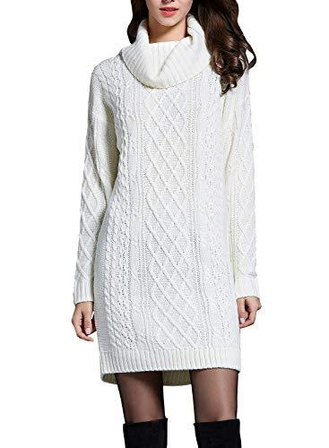 Doballa Damen Solides Langarm-Kabel Twist Stehkragen Strickpullover Kleid (M, Elfenbein) (Pullover Stricken Elfenbein-kabel)