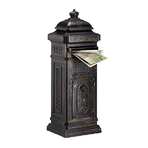 Relaxdays Standbriefkasten Antik HBT: 106 x 38 x 34 cm nostalgischer Säulenbriefkasten aus rostfreiem Aluminium englischer Briefkasten Postkasten in britischem Design mit Posthorn, bronze