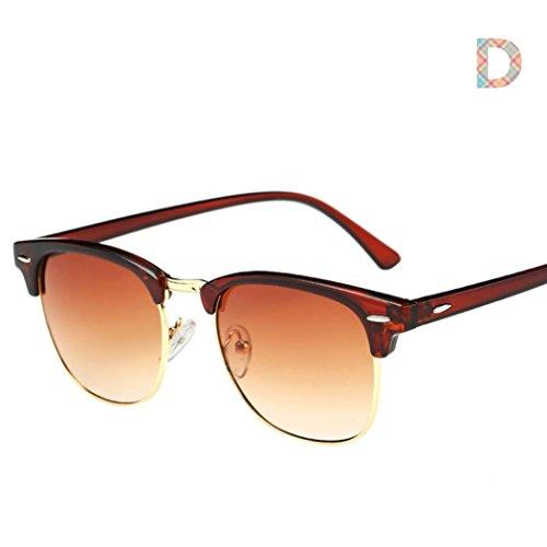 Sonnenbrillen,Binggong Männer Frauen Platz Vintage Spiegel Sonnenbrille Brillen Outdoor Sports Glasse Unisex Sonnenbrille - Farben, Einzel-/Doppelpacks, Verspiegelt (14.4*4.7*14, Mehrfarbig D) (Beleuchtung Farbe Schutz)
