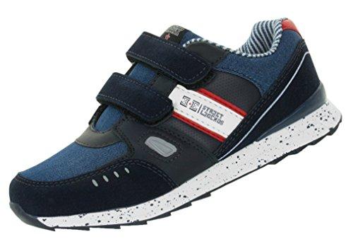 Beppi Kinder-Schuhe Streetstyle   Sportschuhe Turnschuhe mit Klettverschluss   Halbschuhe im Jeanslook Denim   Größe 28
