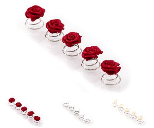 Épingles en spirale ornées de roses - accessoire pour cheveux/coiffure de mariée - 5 pièces - rouge bordeaux