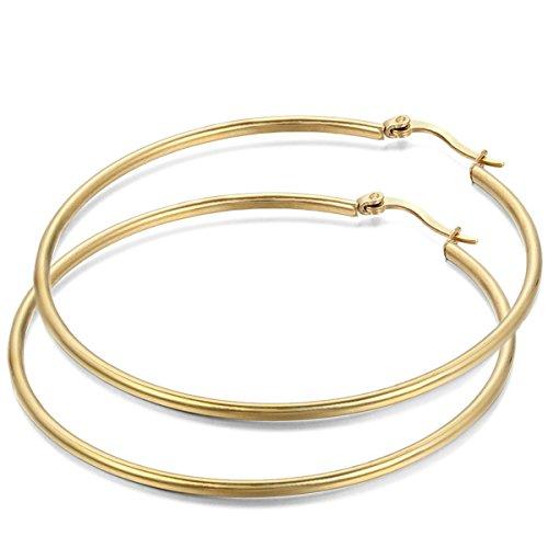 JewelryWe Schmuck Damen Ohrringe, 63mm Edelstahl große Poliert Creolen Ohrhänger, Gold