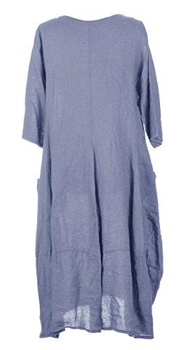 Damen Womens italienischen Lagenlook schrulligen Short Sleeve Ebene 2 Seite Tasche Leinen Langes Kleid One Size UK 12-16 Cornflower Blau
