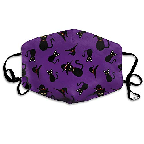 Outdoor Mouth Mask with Design, Reusable Half Face Mask Anti-dust Mask, Unisex Dust Mask Halloween Black Cat Purple Mouth Mask Face Anti Pollution Outdoor Mask Activities Warm Windproof Face Masks (Design Cat Für Halloween Face)